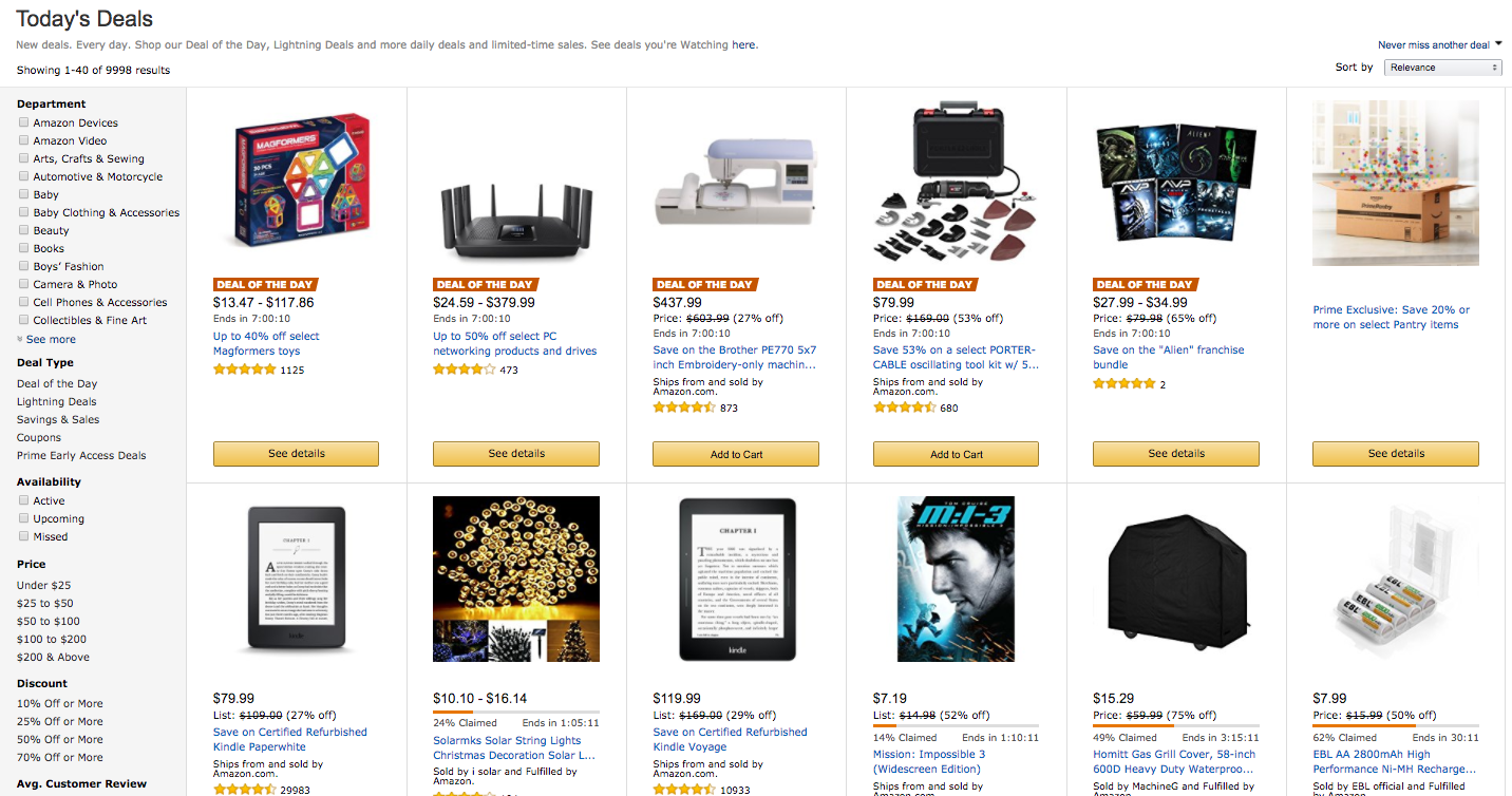 Screenshot of deals on Amazon