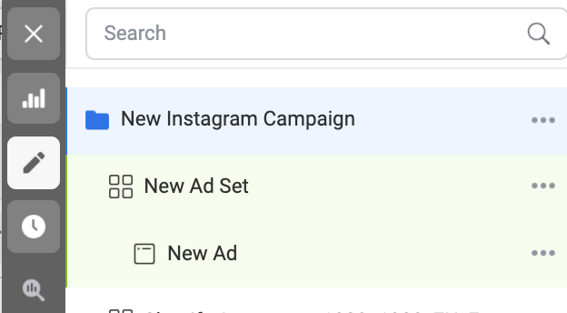 view from Ads Manager of Instagram ad campaign
