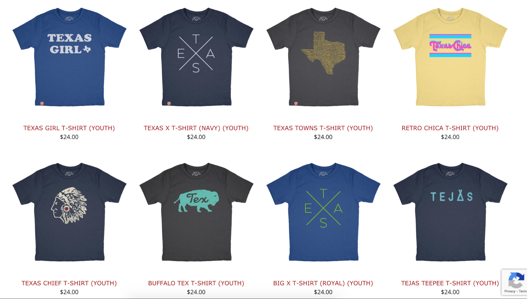 Tumbleweed TexStyles sells both adult and children's t-shirt styles