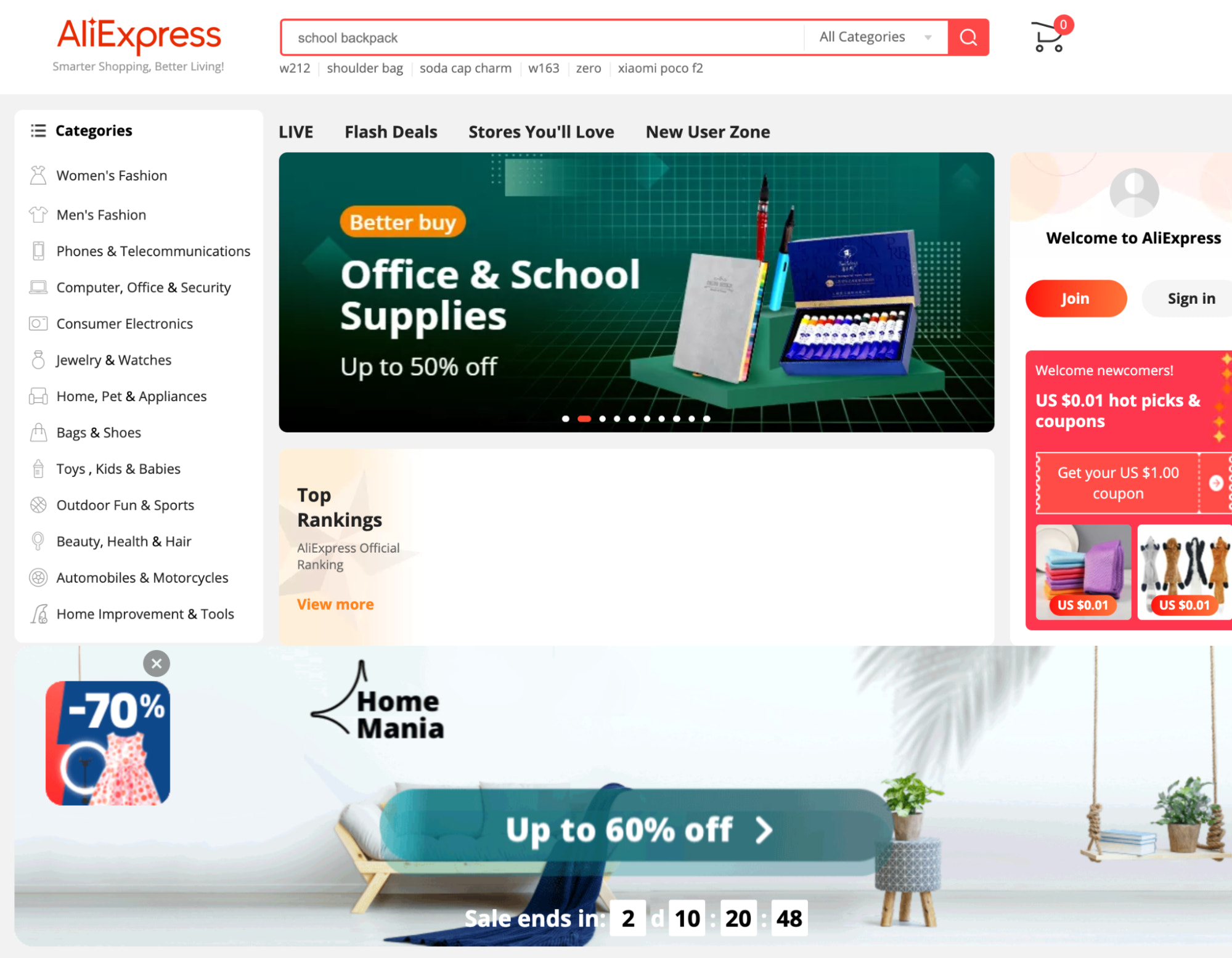 aliexpress homepage for product research