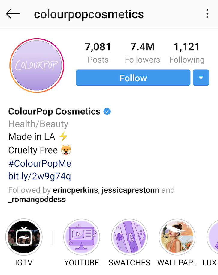ColourPop Cosmetics instagram bio