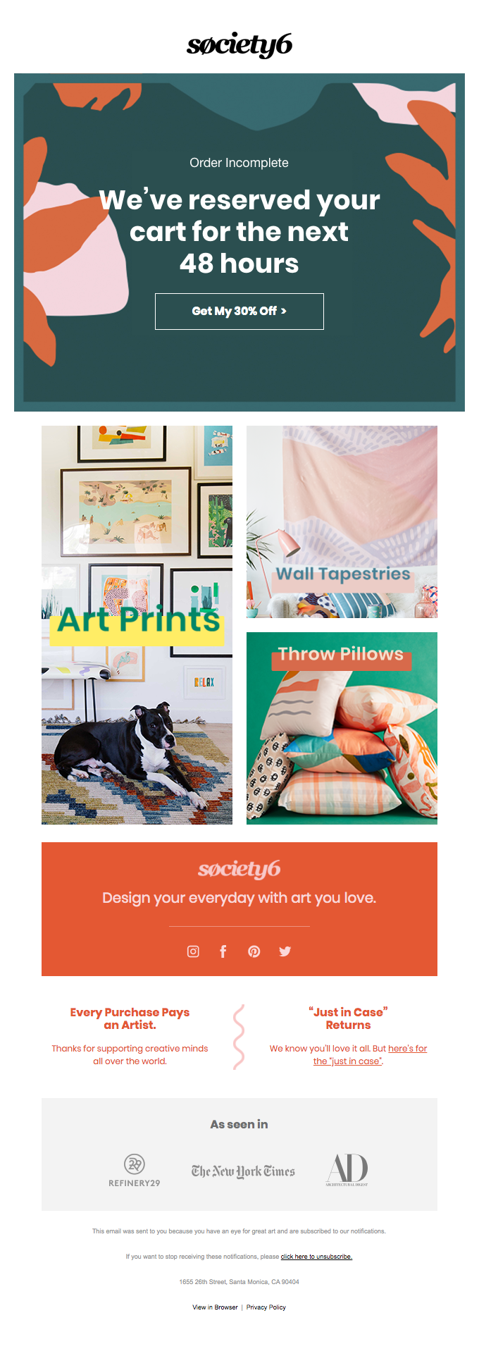 Society6 Abandoned Cart Email example
