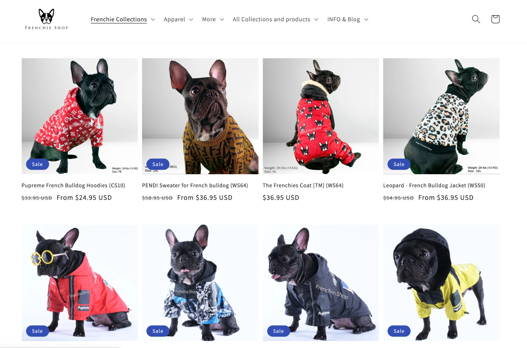 frenchie dog store speciality example