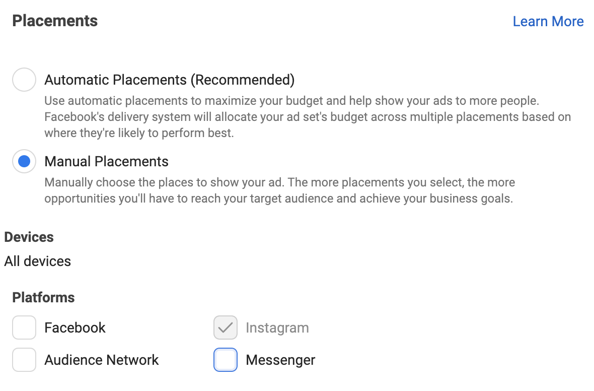 setting up placements in Ads Manager