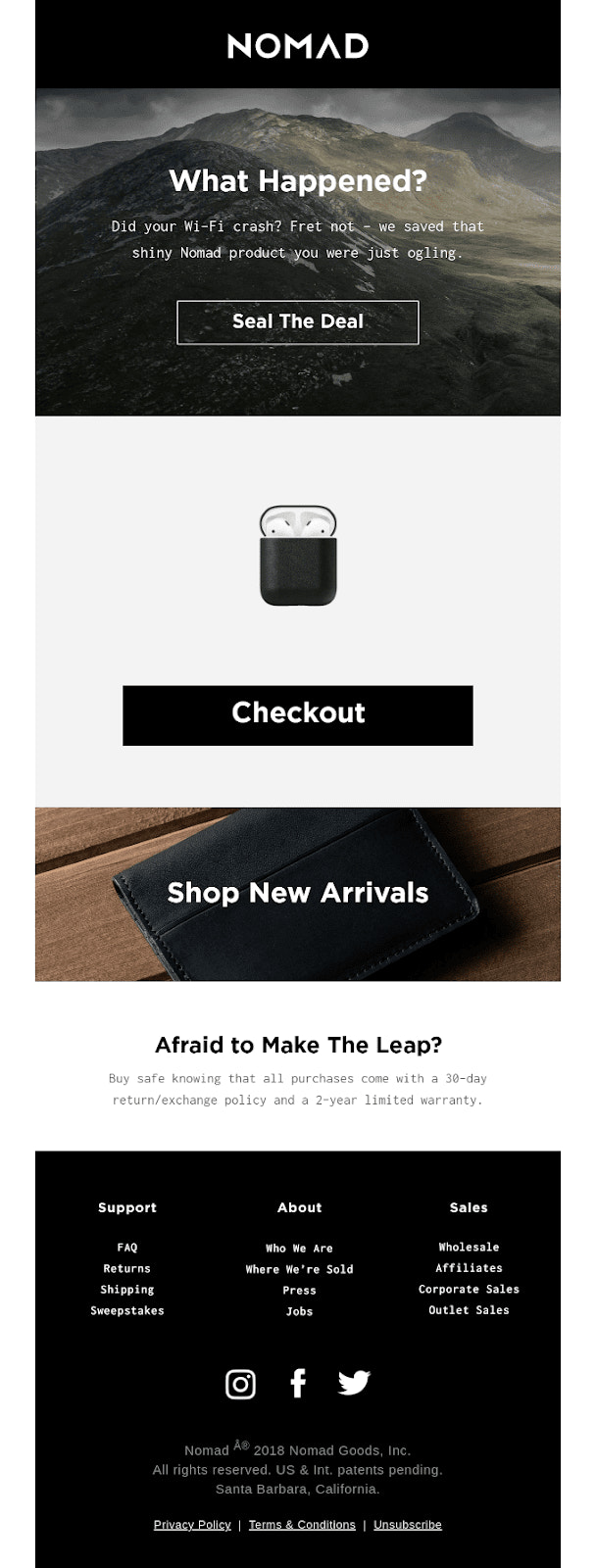 NOMAD abandoned cart email recovery example
