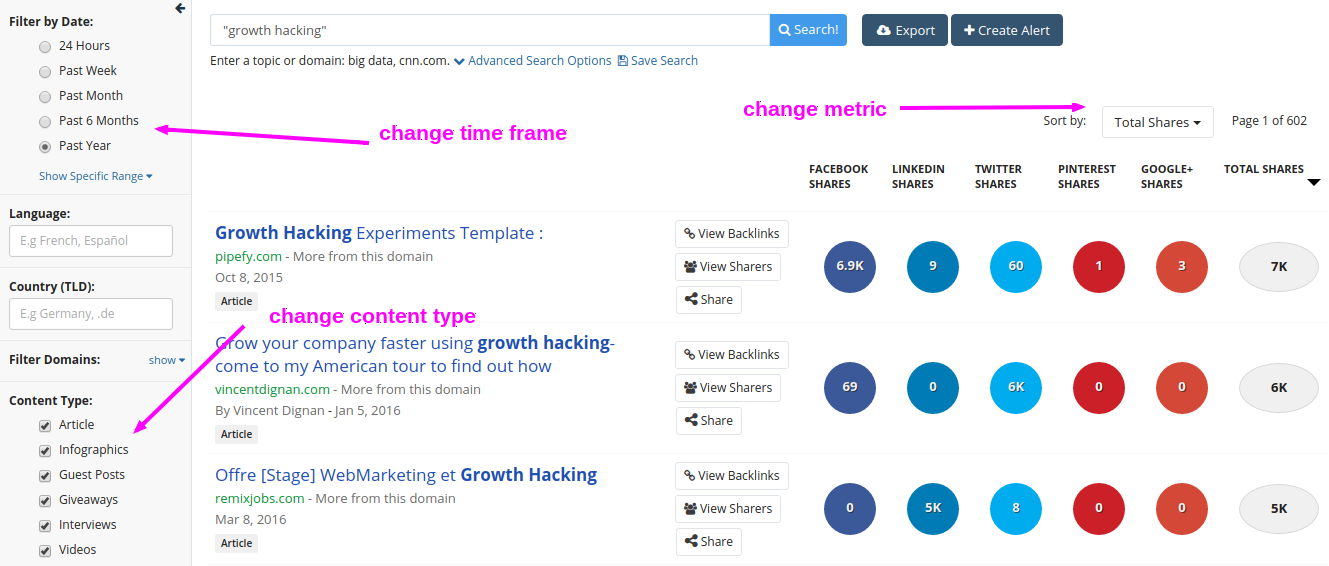 Buzzsumo search results