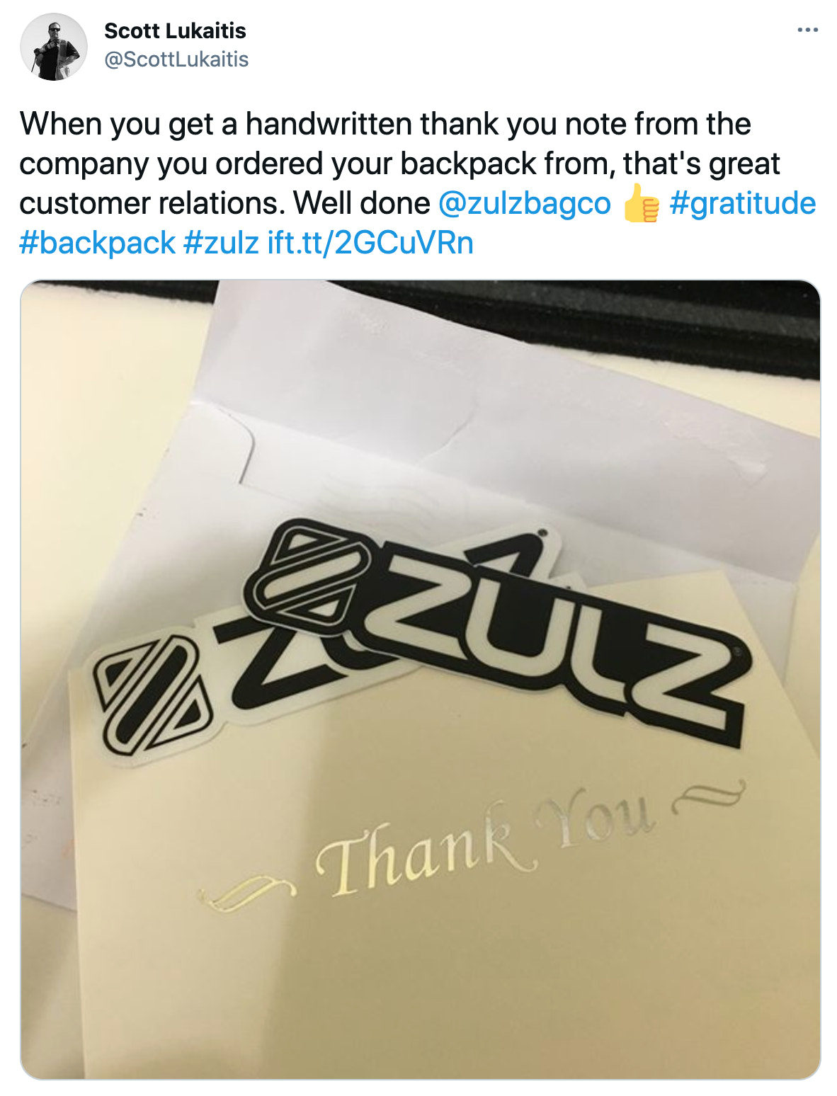 Welcome letter from ZULZ Bag Co