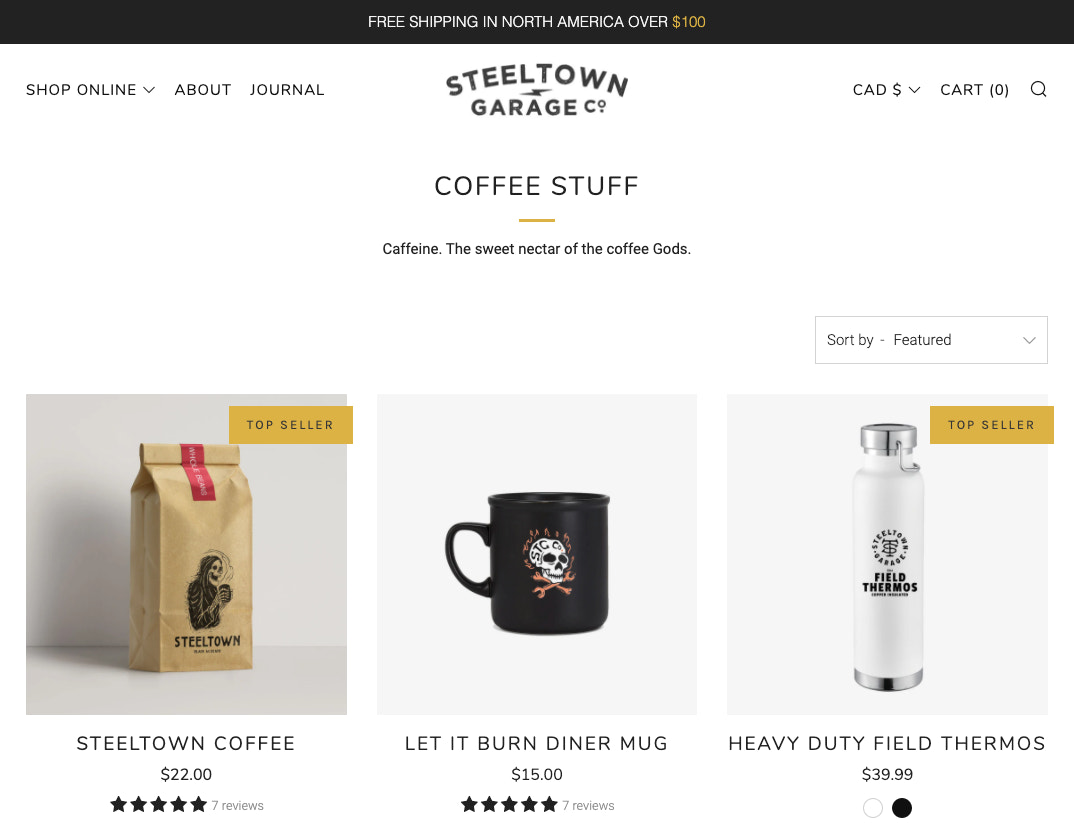 steeltown-garage-product-collection-with-mug-and-coffee-beans