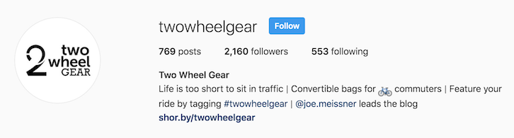 Two Wheel Gear instagram bio