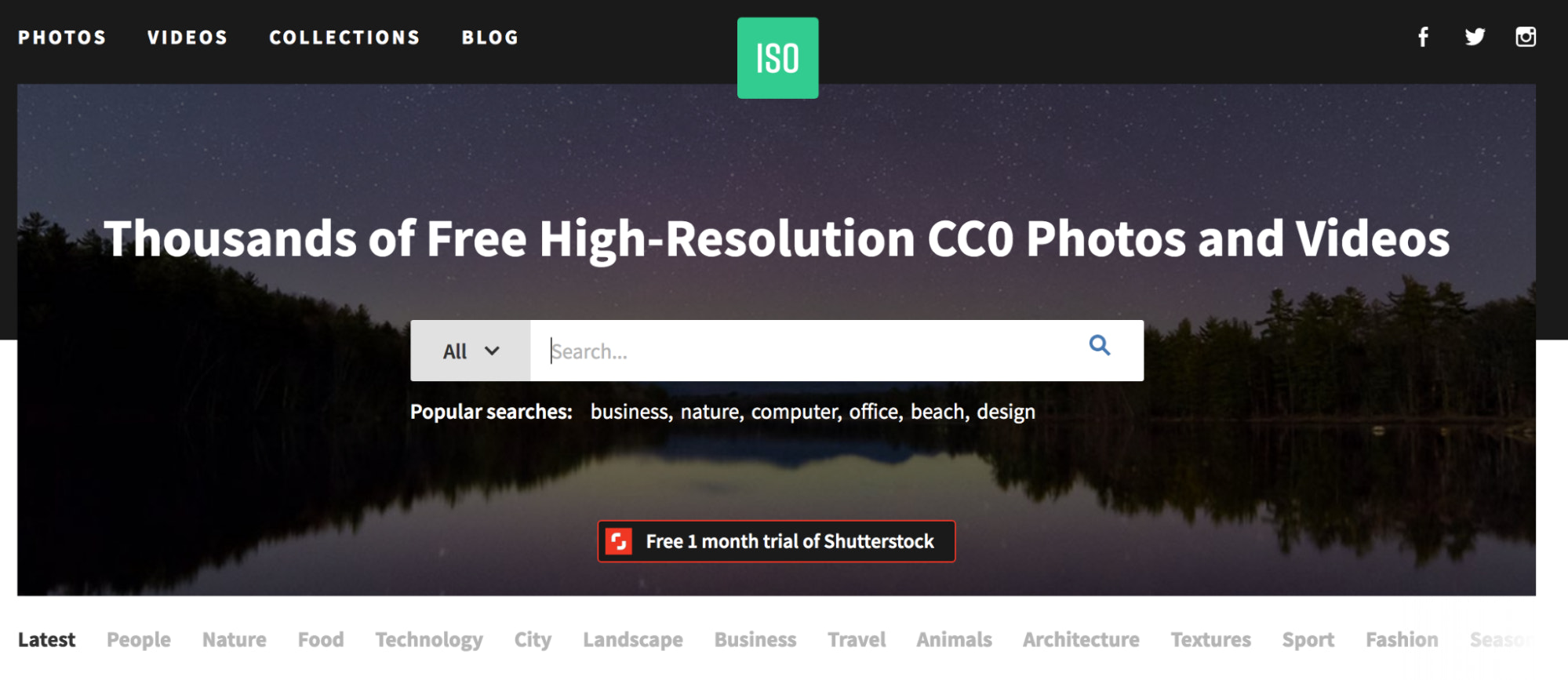 ISO Republic free stock photo site homepage