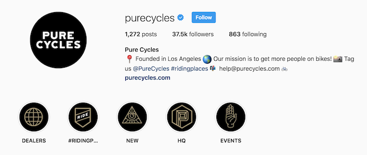 Pure Cycles instagram bio
