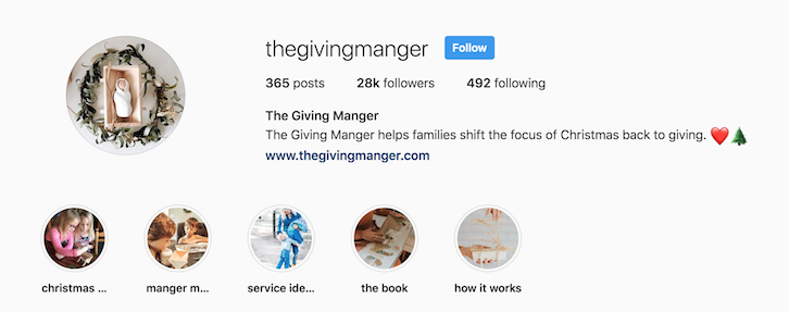 The Giving Manger instagram bio