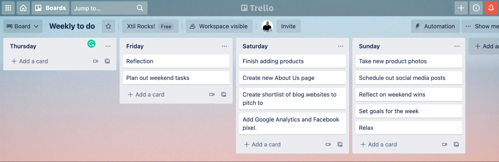 planning your weekend to start a part time business idea in Trello