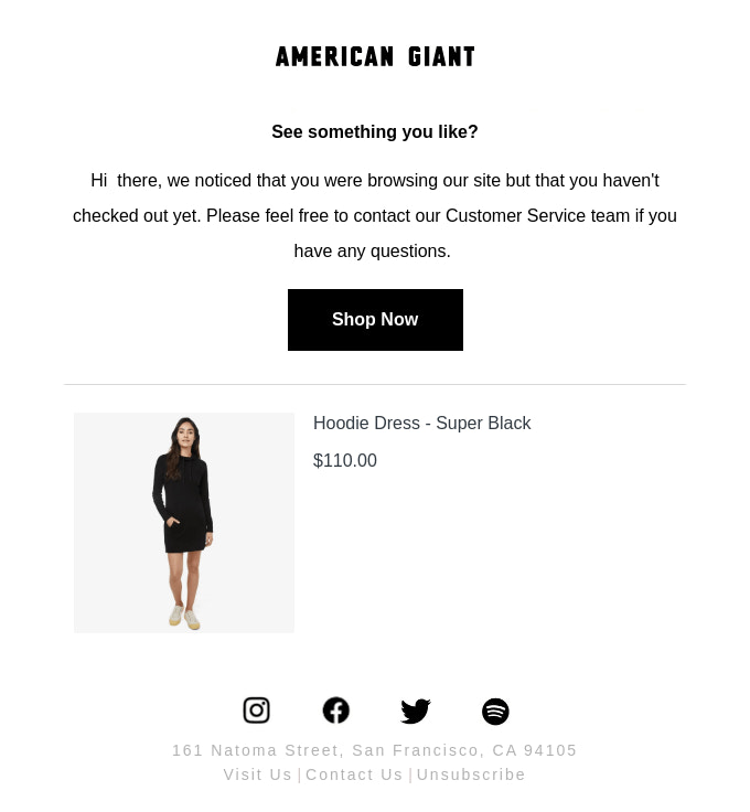 American Giant abandoned cart email