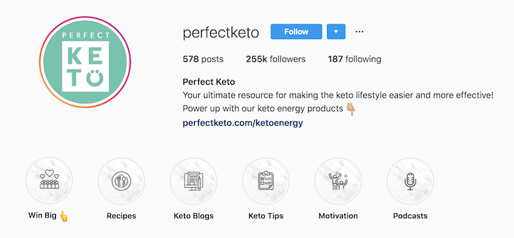 Perfect Keto instagram bio