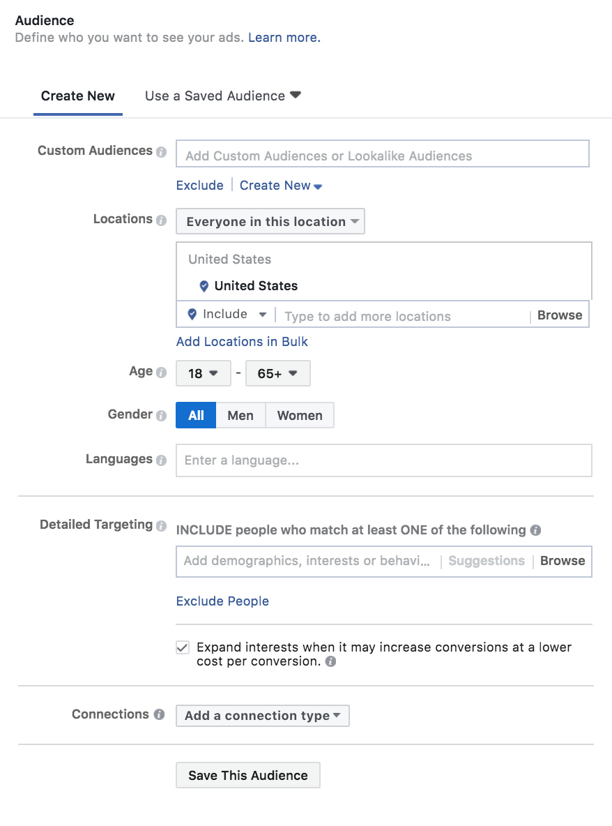creating a Custom Audience in Ads Manager