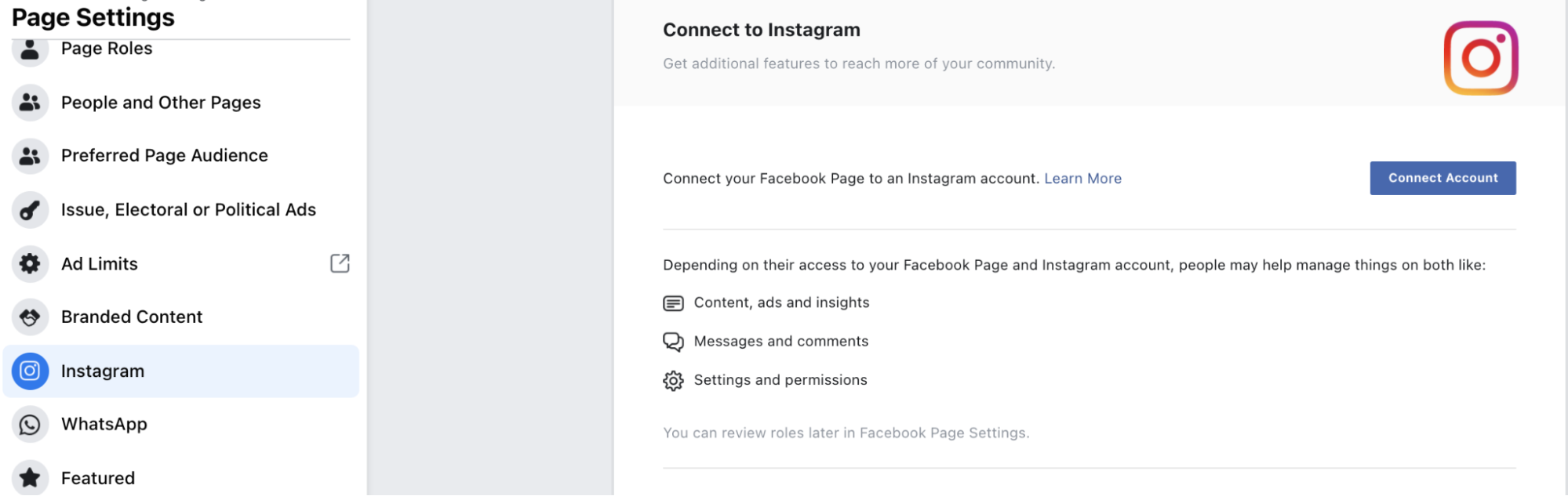 setting up an Instagram ad from Ads Manager