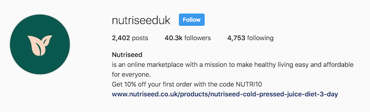 nutriseed uk instagram bio