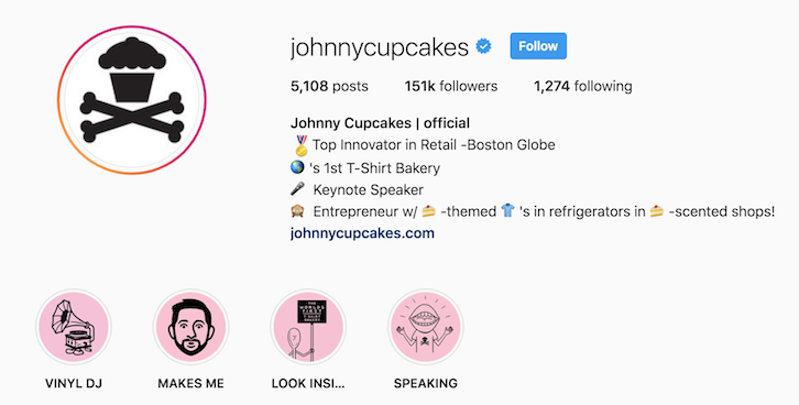 Johnny Cupcakes instagram bio