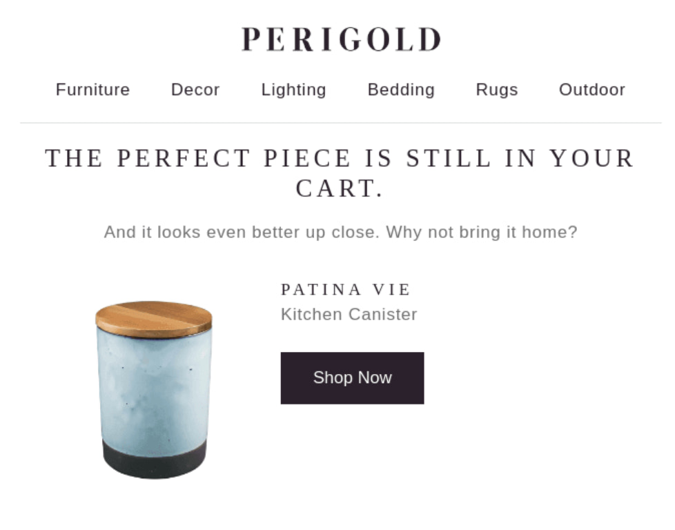 Perigold abandoned cart email example