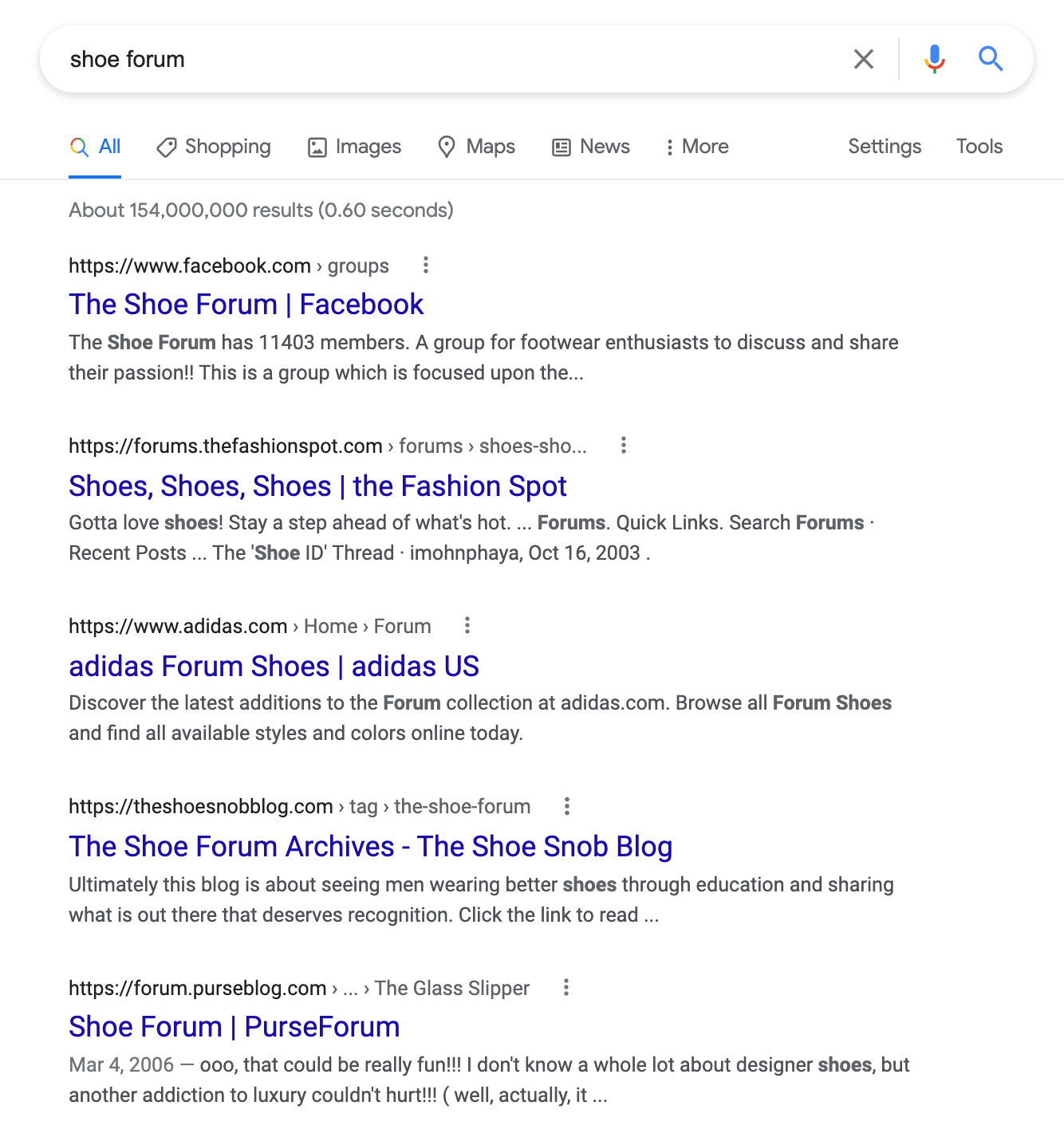 google search for forums