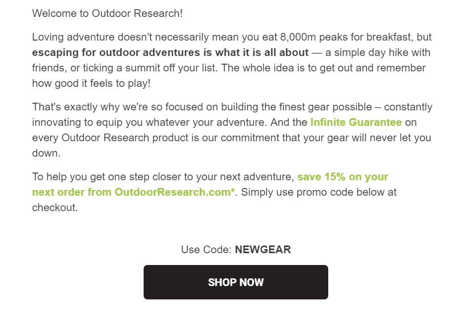discount code for purchase from Outdoor Research