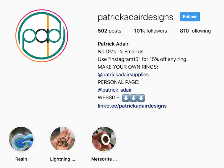 Patrick Adair Designs instagram bio