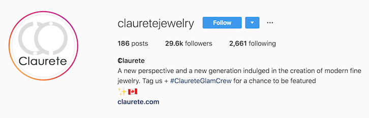 claurete jewelry instagram bio