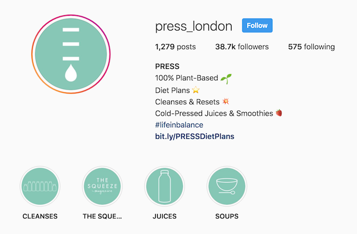 Press London instagram bio