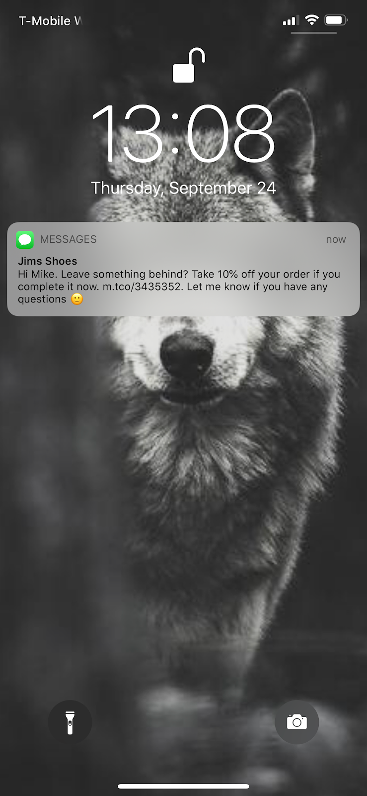 abandoned cart sms example from lock screen