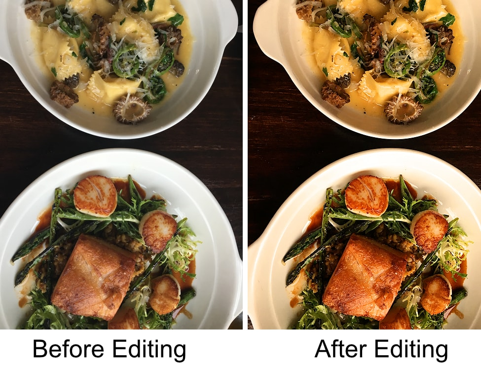 before and after editing a food photo