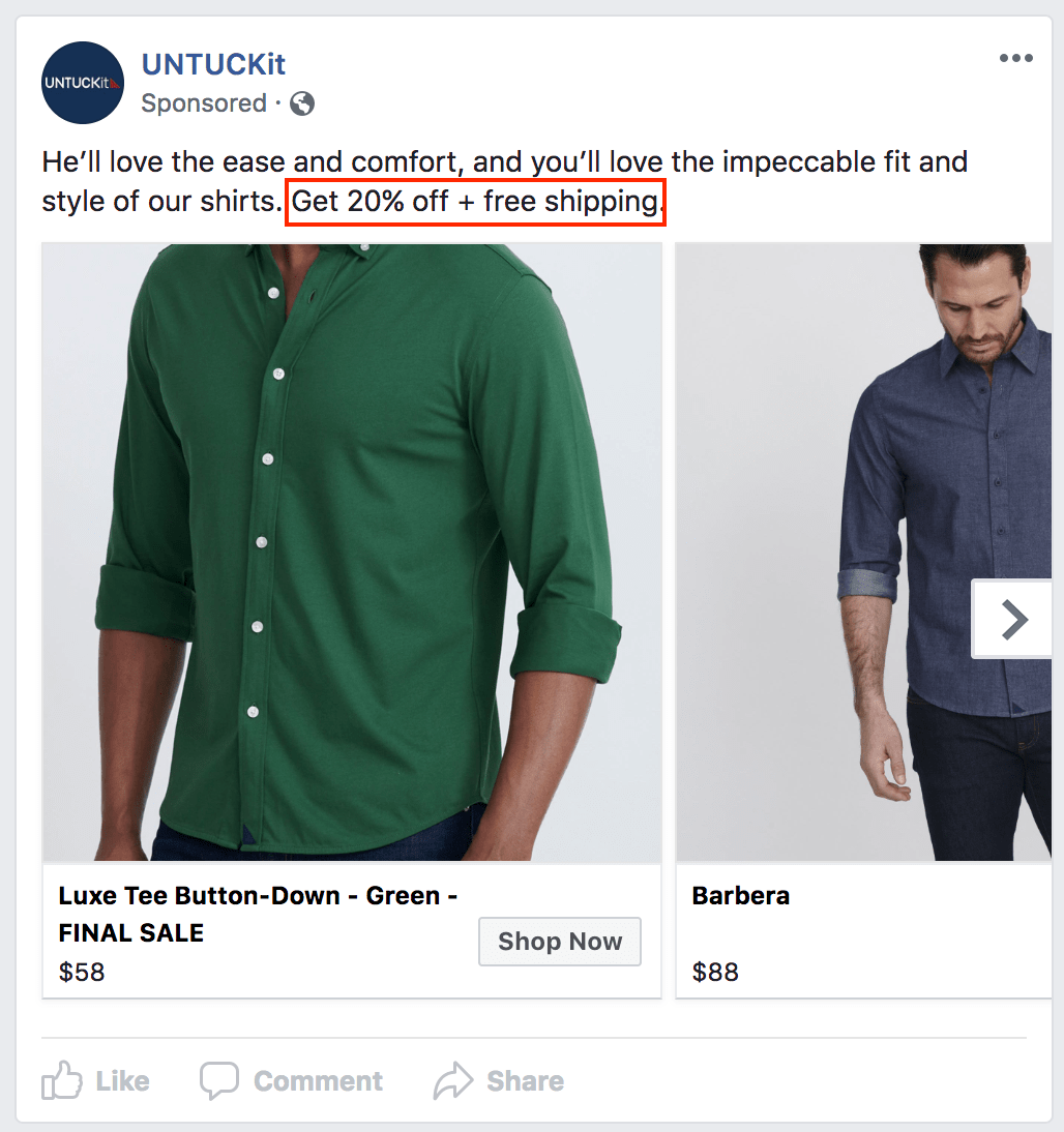 a carousel ad from untuckit