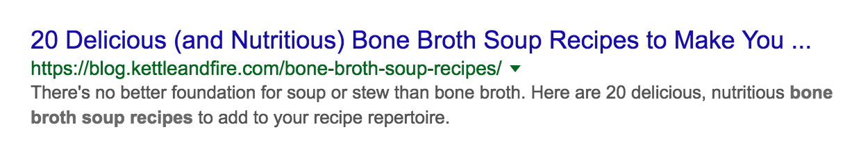 SERP listing example