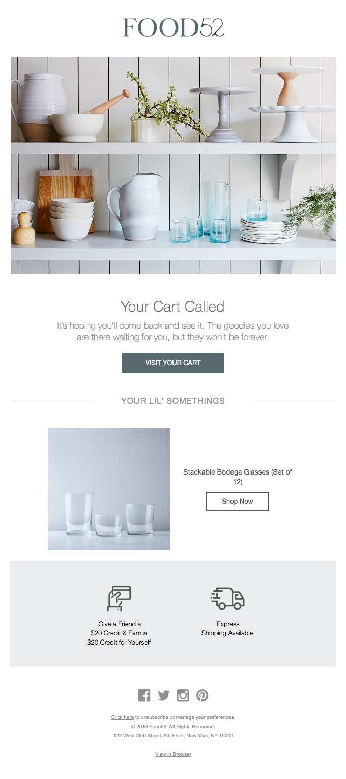 Food52 abandoned cart email