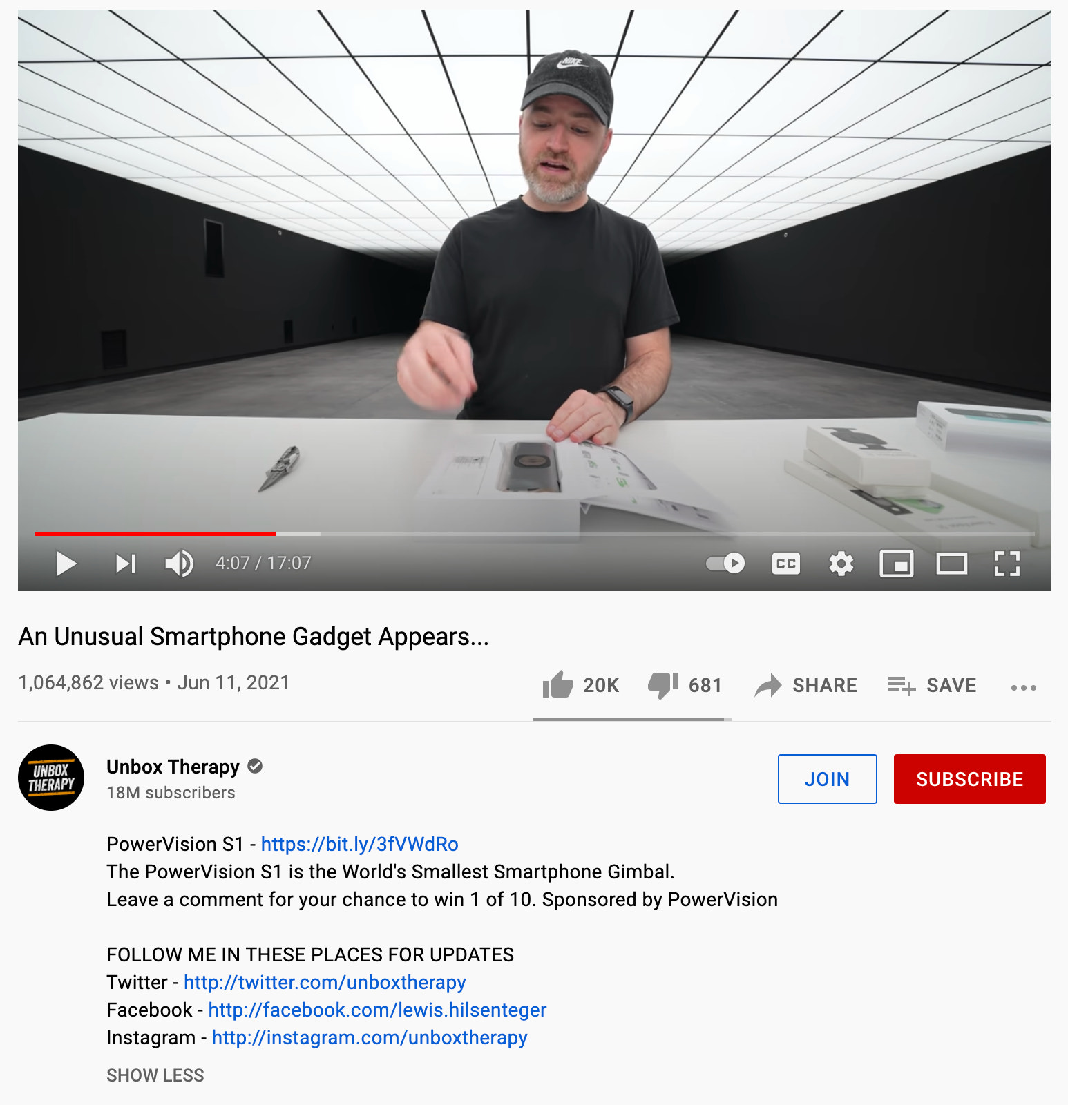 Unbox Therapy video description example