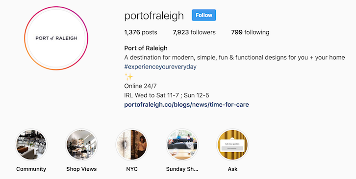 Port of Raleigh instagram bio