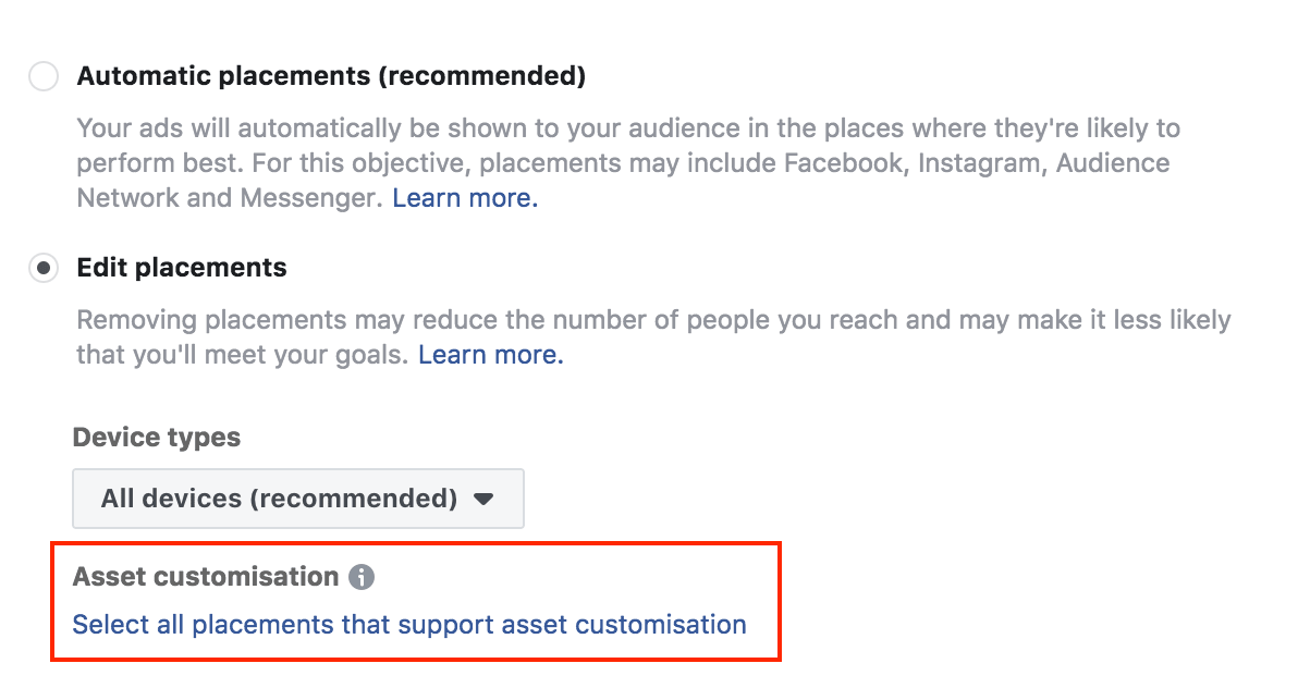 customize your facebook assets