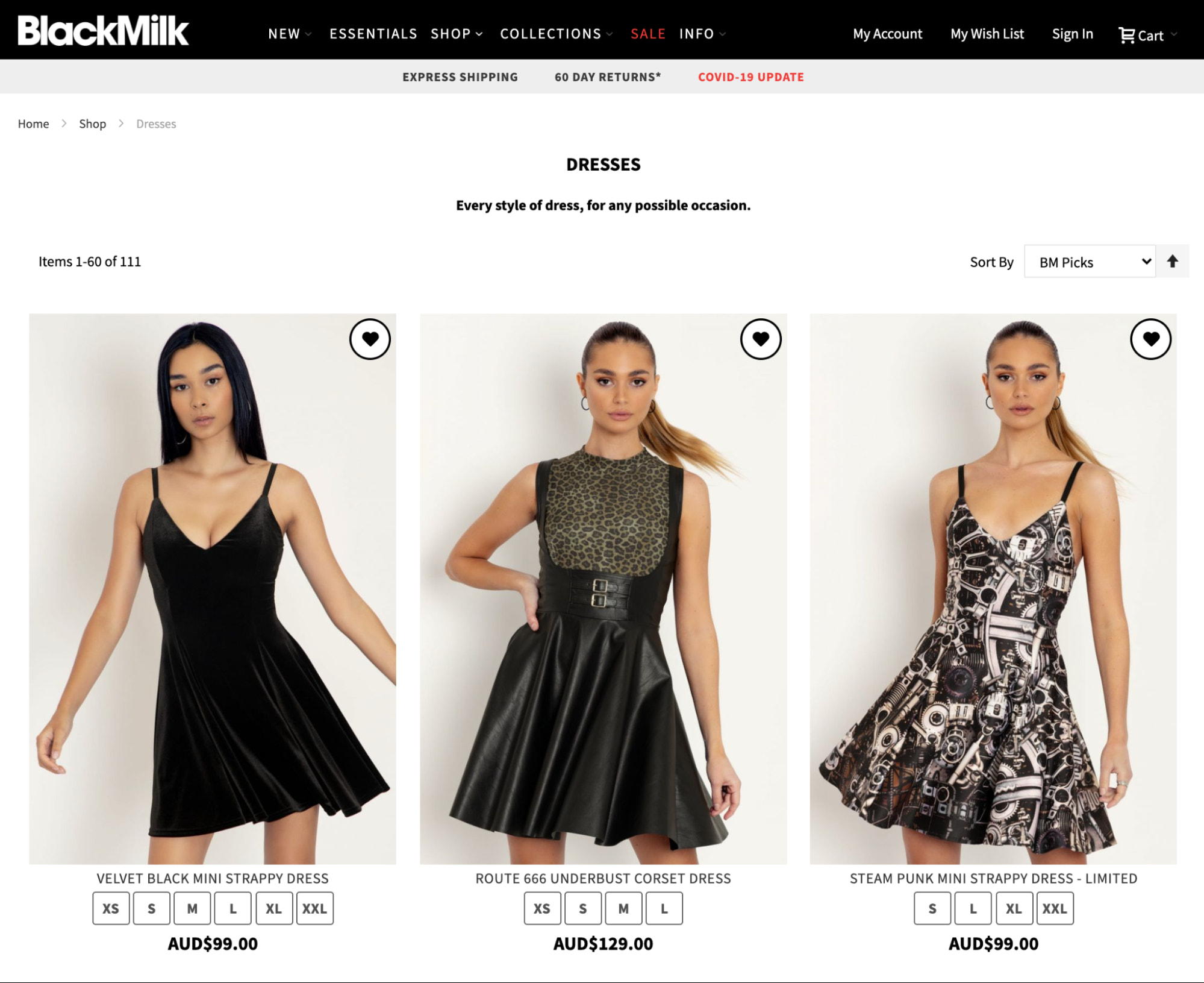 BlackMilk category page
