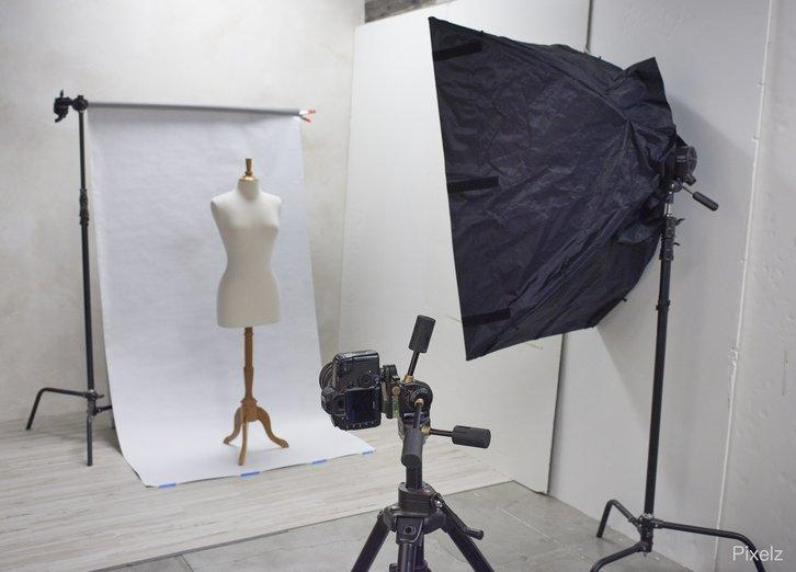 studio set up for clothing photography shoot