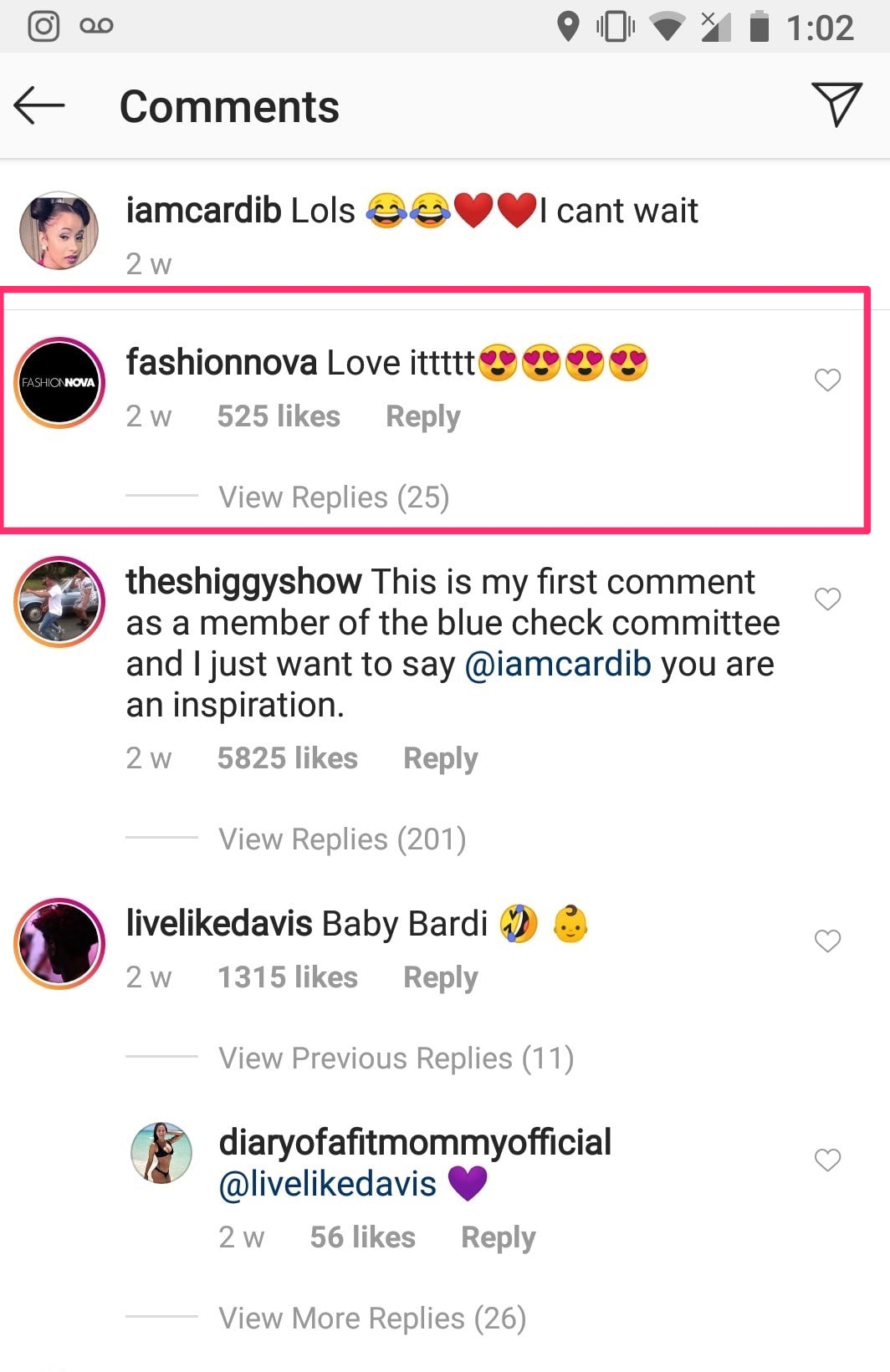 instagram comments