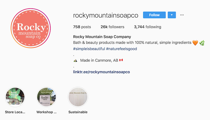 Rocky Mountain Soap Company instagram bio