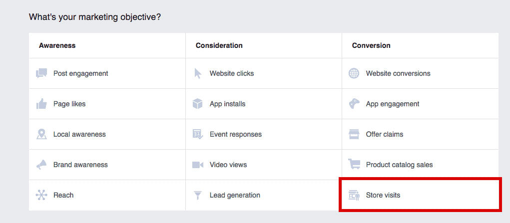 Screenshot of marketing objectives in Facebook Ads Manager