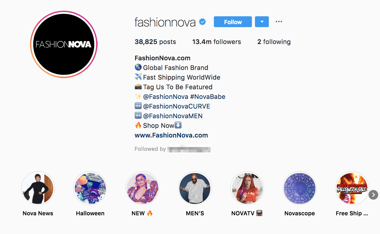 fashion nova instagram bio