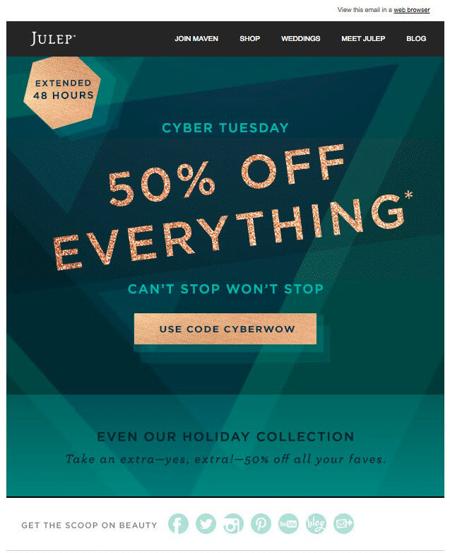 Awesome Black Friday Cyber Monday Email Campaigns You Can Steal - Promotional mailer template