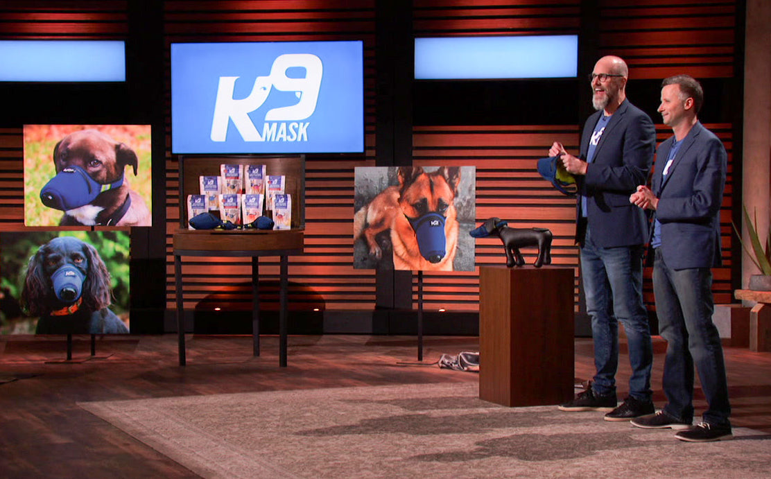 Kirby Holmes and Evan Daugherty on the set of Shark Tank.