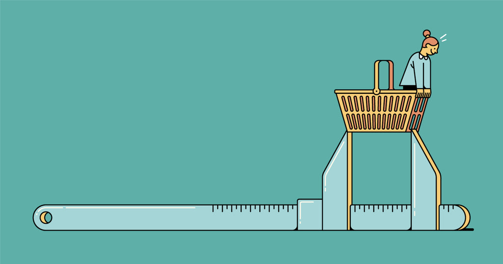 Illustration of a tool measuring a shopping cart, showing how key performance indicators help you size up and analyze business growth