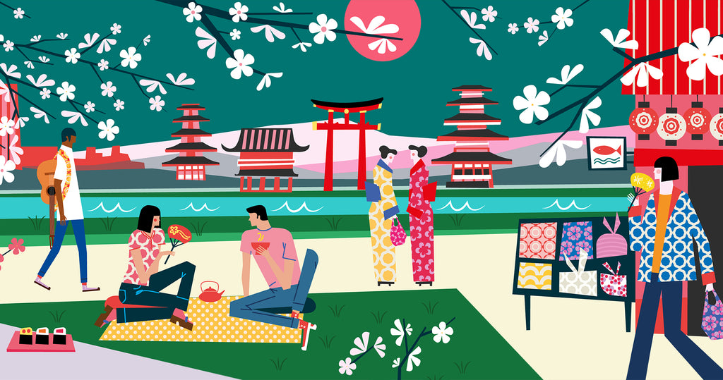 An illustration of a scene in Kyoto. A man carries a guitar (left), a couple has a picnic (foreground), a pair of ladies are dressed in kimonos (center), and a lady carries a purse and fan (right).
