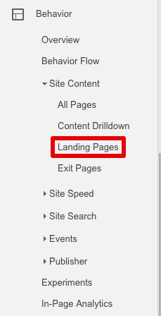 landing page google analytics