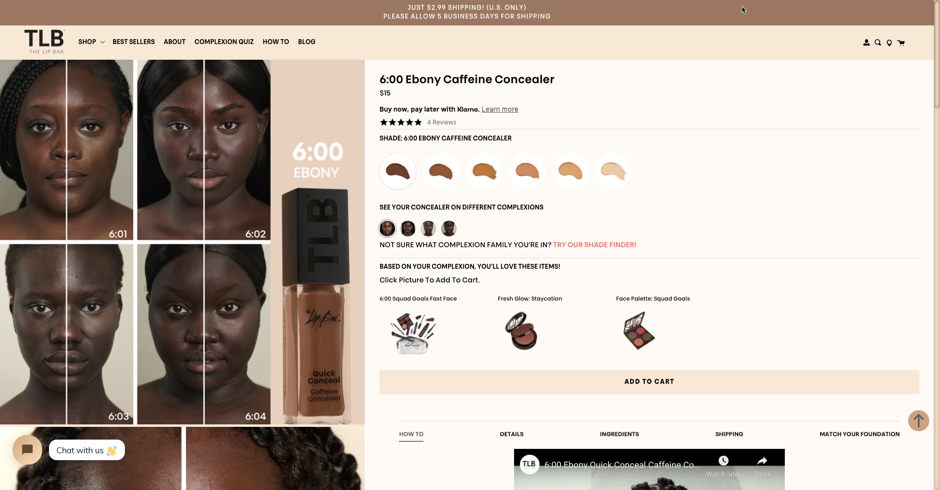 Example of how Shopify Store, The Lip Bar, balances using a keyword in their product pages and collections pages