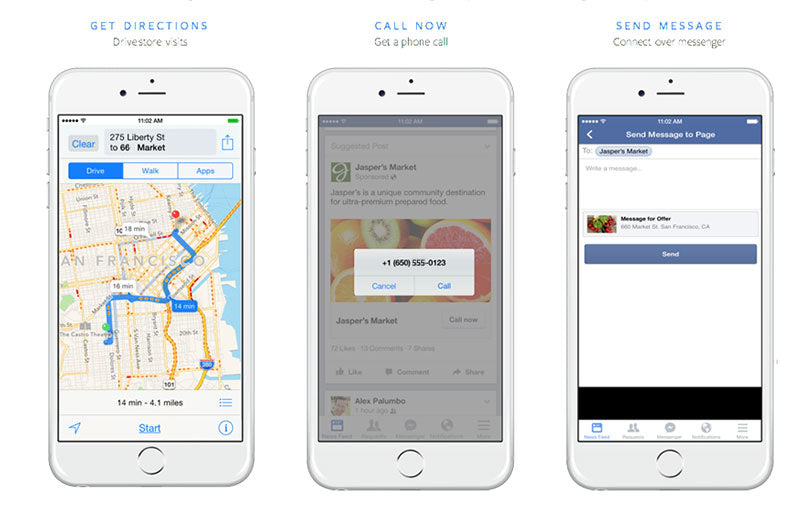 Screenshot of Facebook call to action buttons